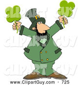 Clip Art of a Caucasian Leprechaun Holding Four Leaf Clovers by Djart
