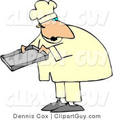 Clip Art of a Caucasian Male Baker Holding a Pan by Djart