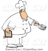 Clip Art of a Caucasian Male Chef Holding a Cooking Pot by Djart