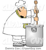 Clip Art of a Caucasian Male Chef Stirring a Large Pot of Soup with a Spoon by Djart