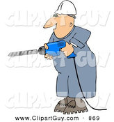 Clip Art of a Caucasian Male Construction Worker Drilling into a Wall by Djart