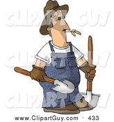 August 7th, 2015: Clip Art of a Caucasian Male Farmer Carrying Two Rounded Tip Shovels by Djart