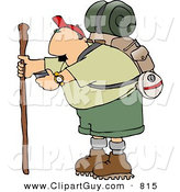 Clip Art of a Caucasian Male Hiker Checking His Compass by Djart