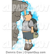 Clip Art of a Caucasian Male Hiker Hanging on a Mountainside Cliff by Djart