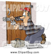 Clip Art of a Caucasian Male Locksmith Picking a Padlock by Djart