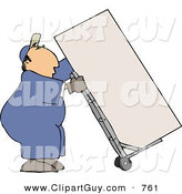 Clip Art of a Caucasian Male Mover Moving a Heavy Refrigerator/Freezer with a Dolly by Djart