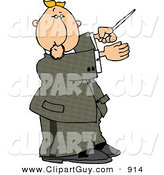 Clip Art of a Caucasian Male Music Conductor Directing a Musical Performance with a Conducting Baton by Djart