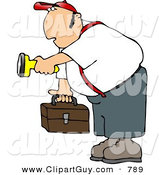 Clip Art of a Caucasian Male Worker Carrying a Toolbox and Pointing a Flashlight in the Dark by Djart