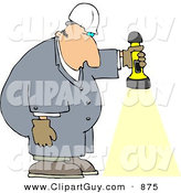 Clip Art of a Caucasian Male Worker Shining a Flashlight Towards the Ground by Djart