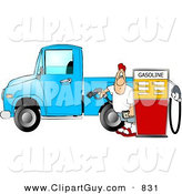 Clip Art of a Caucasian Man at the Gas Station Pumping Diesel Fuel into His Pickup Truck by Djart