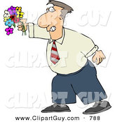 Clip Art of a Caucasian Man Holding a Colorful Bouquet of Flowers with a Grin on His Face by Djart