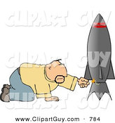 Clip Art of a Caucasian Man Lighting the Fuse on His Model Rocket by Djart