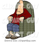Clip Art of a Caucasian Man Sitting in a Chair by Djart