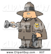 Clip Art of a Caucasian Ranger Armed with a Gun and Pointing a Flashlight by Djart