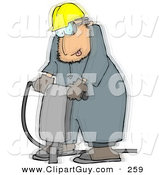 Clip Art of a Caucasian Vibrating Worker Operating a Portable Jackhammer by Djart