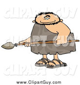 Clip Art of a Caveman Holding a Spear by Djart