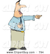 Clip Art of a Cheerful Businessman Pointing His Finger at Someone and Laughing Hysterically by Djart