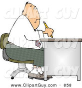 Clip Art of a Chubby Businessman Working at a Desk by Djart