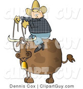 Clip Art of a Chubby Cowboy Sitting on the Back of a Bull with Horns and a Bell by Djart