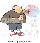 Clip Art of a Chubby White Boy or Man Blowing Transparent and Colorful Bubbles by Djart
