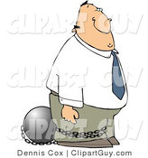 Clip Art of a Convicted Businessman Wearing a Ball and Chain on His Ankle by Djart