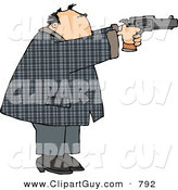 Clip Art of a Convicted Male Criminal Pointing and Shooting a Gun and Looking Right by Djart