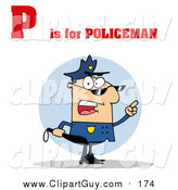 Clip Art of a Cop with P Is for Policeman Text by Hit Toon