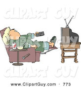 Clip Art of a Couch Potato Man in His Pajamas Holding the TV Remote Controller by Djart