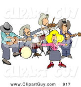 Clip Art of a Country Western Band Playing Country Music on White by Djart