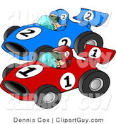 Clip Art of a Couple of Cars Racing Each Other down a Speedway by Djart