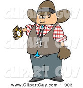 Clip Art of a Cowboy Checking His Stopwatch for the Time by Djart