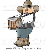 Clip Art of a Cowboy Farmer Carrying an Empty Bucket to the Left by Djart