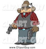 Clip Art of a Cowboy Holding Two Loaded Guns by Djart