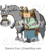Clip Art of a Cowboy Man Standing Beside His Horse and Pointing Guns Towards the Ground by Djart