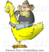 Clip Art of a Cowboy Riding a Big Yellow Bird to the Left by Djart