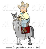 Clip Art of a Cowboy Riding High on a Gray Horse to the Left by Djart