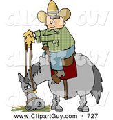 Clip Art of a Cowboy Sitting on His Stubborn Horse Eating Hay by Djart