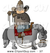 Clip Art of a Cowboy Sitting on Horse Saddle Backwards While Holding Reins by Djart