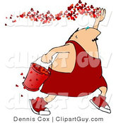 Clip Art of a Cupid Releasing Love Hearts - Royalty Free by Djart