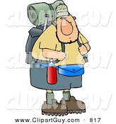 Clip Art of a Curious and Adventurous Male Hiker Carrying Backpack and Camping Gear by Djart