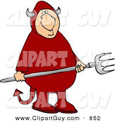 Clip Art of a Cute Devil Holding a Pitchfork by Djart