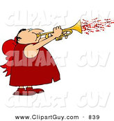 Clip Art of a Cute Man Wearing Valentine Cupid Costume and Blowing Love Hearts from a Trumpet by Djart