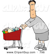 Clip Art of a Cute White Man Pushing a Shopping Cart Filled with Food in a Grocery Store by Djart