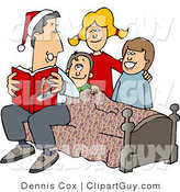 Clip Art of a Dad Reading a Bedtime Christmas Story to His Sons and Daughter by Djart