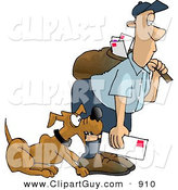 Clip Art of a Dog Attacking the Unimpressed Mailman by Djart