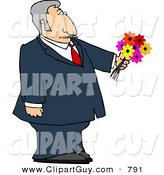 Clip Art of a Dressed up Caucasian Elderly Man Holding a Bouquet of Flowers for His Blind Date by Djart