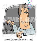 Clip Art of a Drunk Male Driver Operating a Motor Vehicle by Djart