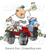 Clip Art of a Drunk Man Sitting on a Four Wheeled All-Terrain Vehicle and Holding up His Beer by Djart