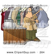 Clip Art of a Dry Cleaner Person Standing Beside Clothing and Cash Register by Djart