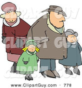 Clip Art of a Family of Four Going out Together During the Winter Season by Djart